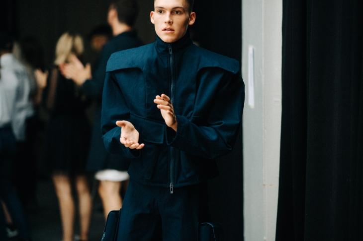 Male model wearing conceptual street wear